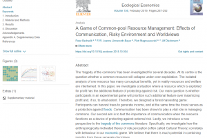 "Artykuł ""A Game of Common-pool Resource Management: Effects of Communication, Risky Environment and Worldviews"" dostępny online!"