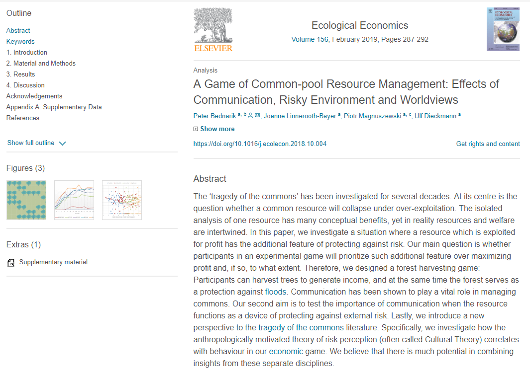 """Artykuł """"A Game of Common-pool Resource Management: Effects of Communication, Risky Environment and Worldviews"""" dostępny online!"""